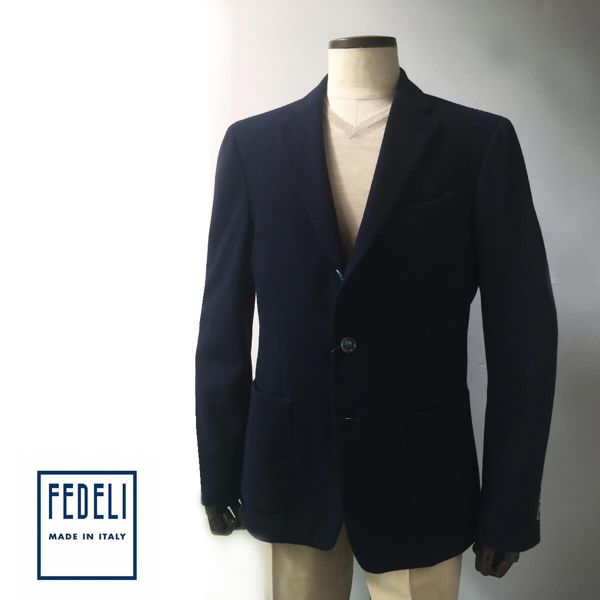 FEDELI (フェデーリ) テーラードジャケット メンズ カジュアル ネイビー ウール 大きいサイズ 3つボタン ストレッチ おしゃれ