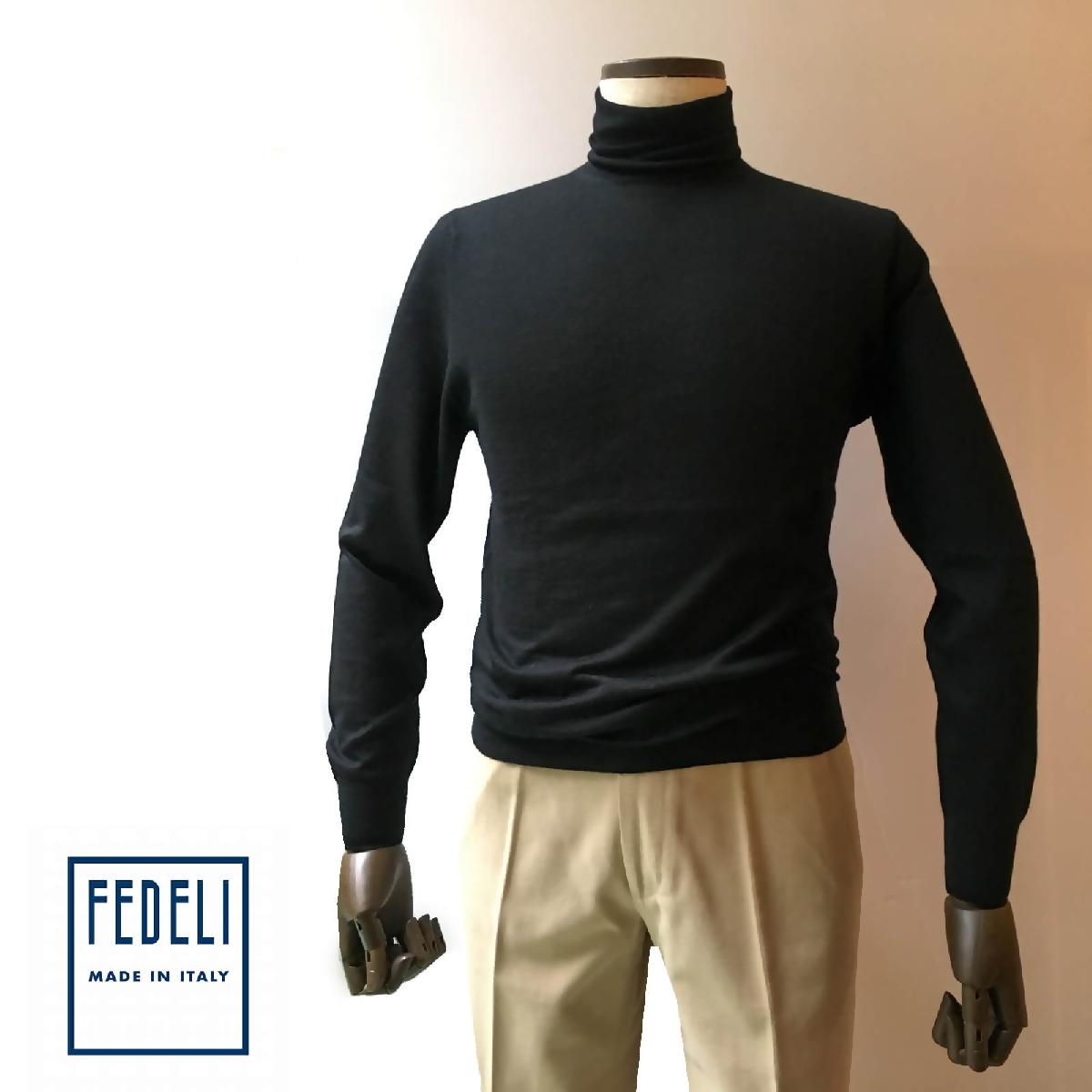 FEDELI (フェデーリ) タートルネックハイゲージカシミヤニットセーター メンズ ブランド カジュアル 大きいサイズ 長袖 ブラクック 無地
