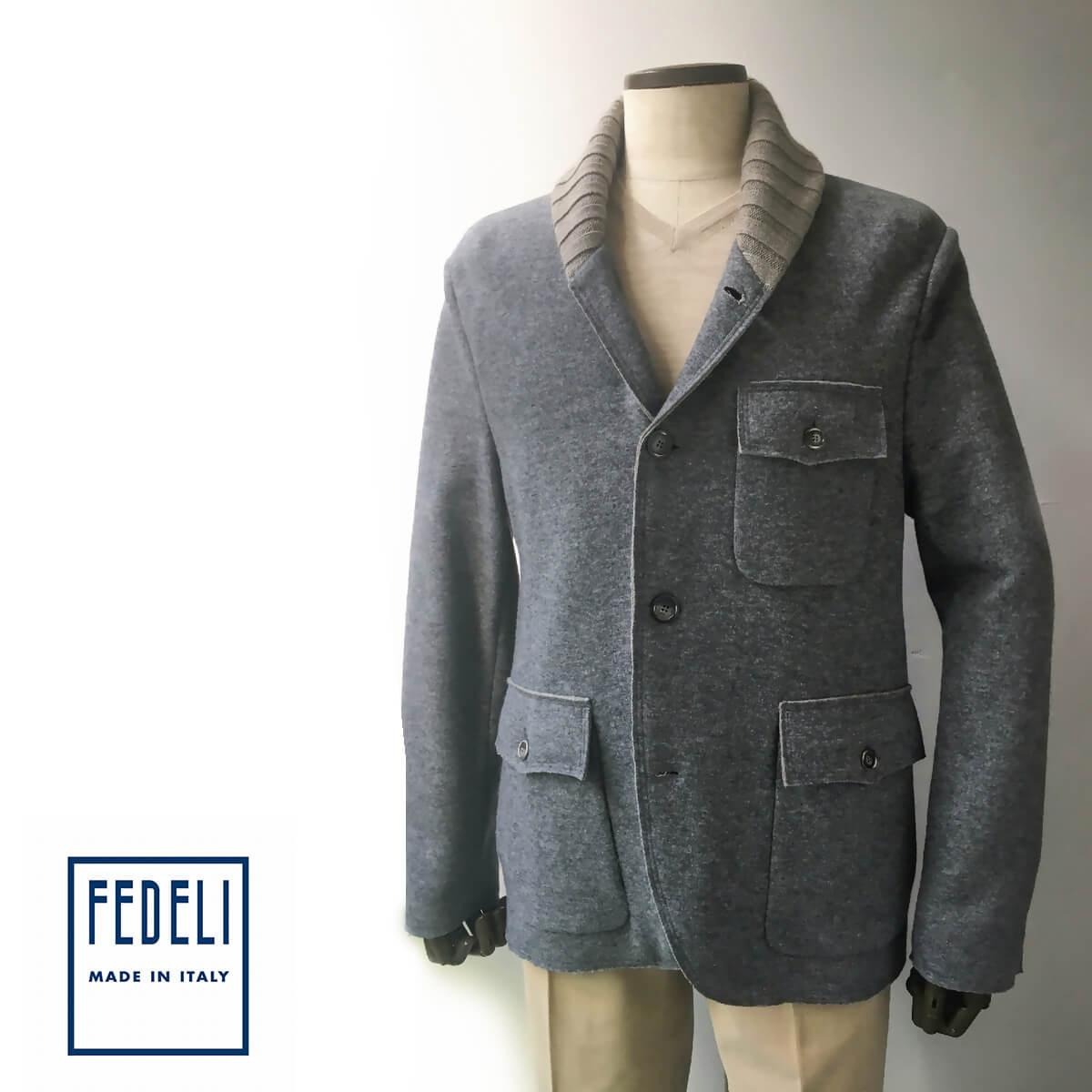 FEDELI (フェデーリ) ヘチマ襟カジュアルカシミヤジャケット メンズ ブランド カジュアル 大きいサイズ カシミヤ グレー
