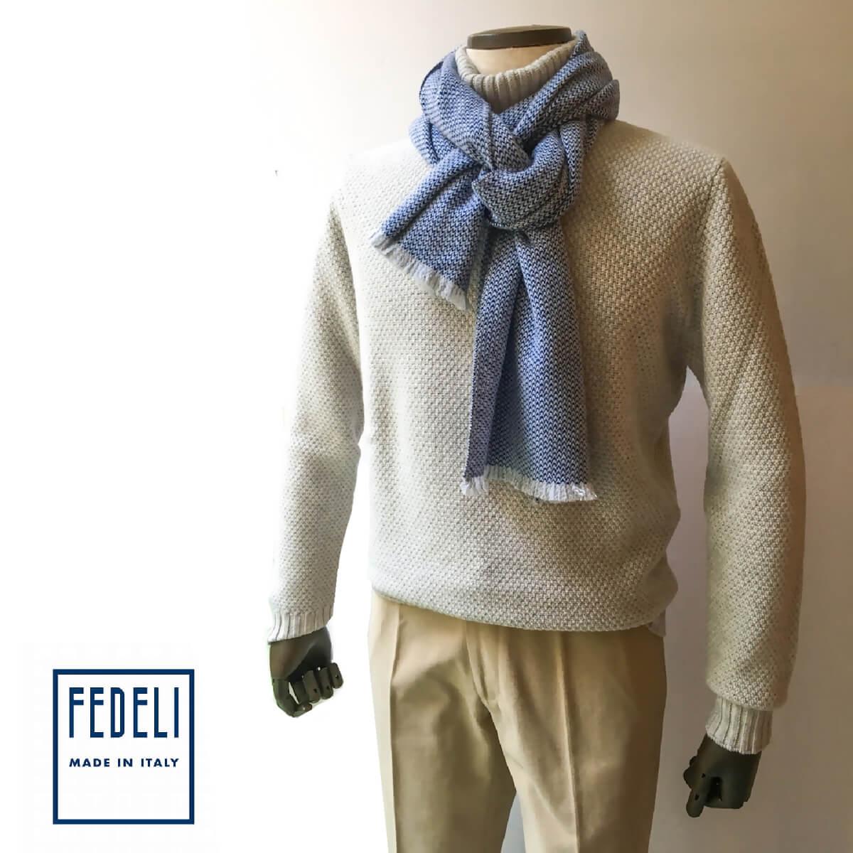 FEDELI (フェデーリ) カシミヤマフラー ブルー メンズ レディース おしゃれ ブランド ニット