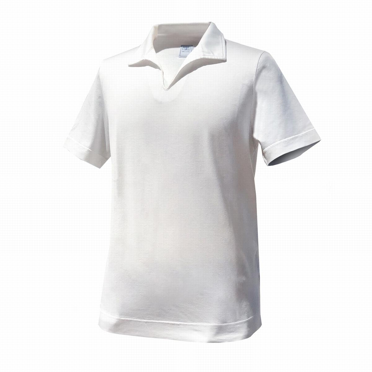 【 エジプト綿GIZA 】FEDELI (フェデーリ) イタリアンカラーポロシャツ 半袖 ホワイト ブランド 大きいサイズ カジュアル クールビズ おしゃれ 開襟シャツ フェデリ フェデッリ スキッパーカラー