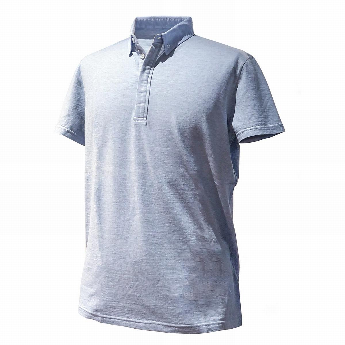FEDELI (フェデーリ) ボタンダウンポロシャツ 半袖 スカイブルー 水色 ブランド 大きいサイズ カジュアル クールビズ おしゃれ