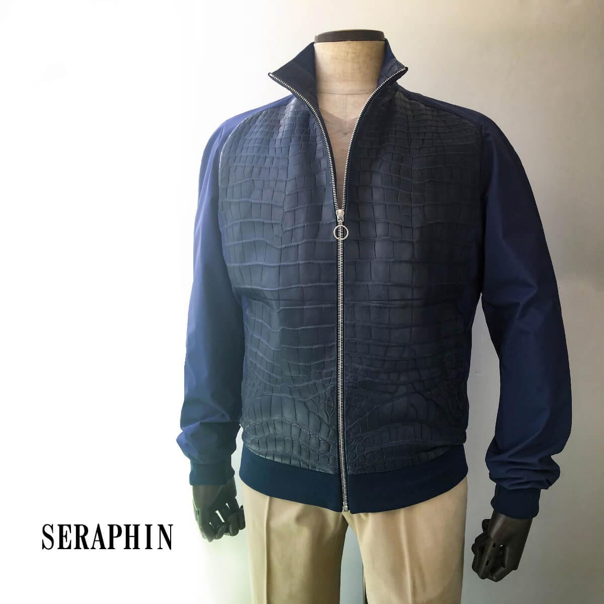 SERAPHIN (セラファン)ブルゾン メンズ カジュアル クロコダイル ネイビー 本革 エキゾチックレザー