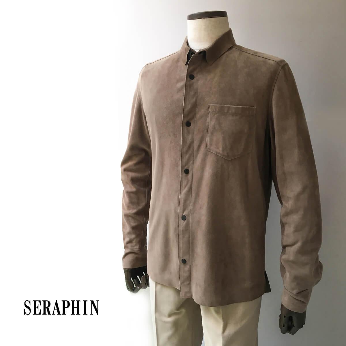 Seraphin (セラファン)レザーシャツ ゴートスキン メンズ カジュアル スウェード 本革