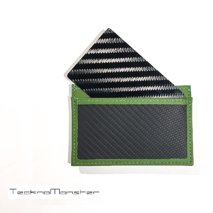 TecknoMonster (テクノモンスター)サブラージュカード カードケース 定期入れ パスケース クレジットカードケース ブランド メンズ レディース ソフトカーボンファイバー カーフレザー チタン ハードカーボンファイバー イタリア製 サブラージュ ライトグリーン