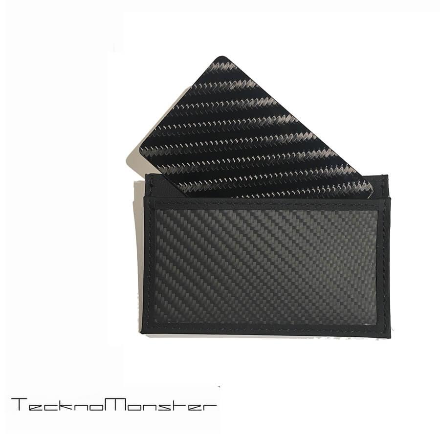 TecknoMonster (テクノモンスター)サブラージュカード カードケース 定期入れ パスケース クレジットカードケース ブランド メンズ レディース ソフトカーボンファイバー カーフレザー チタン ハードカーボンファイバー イタリア製 サブラージュ ブラック