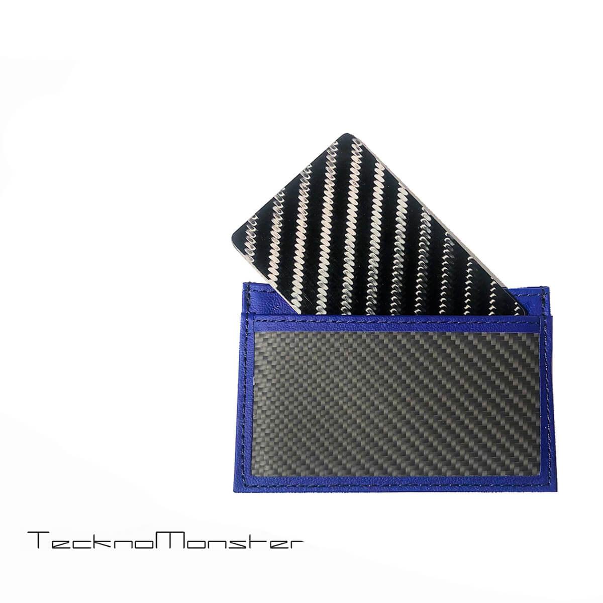 TecknoMonster (テクノモンスター)サブラージュカード カードケース 定期入れ パスケース クレジットカードケース ブランド メンズ レディース ソフトカーボンファイバー カーフレザー チタン ハードカーボンファイバー イタリア製 サブラージュ ネイビー