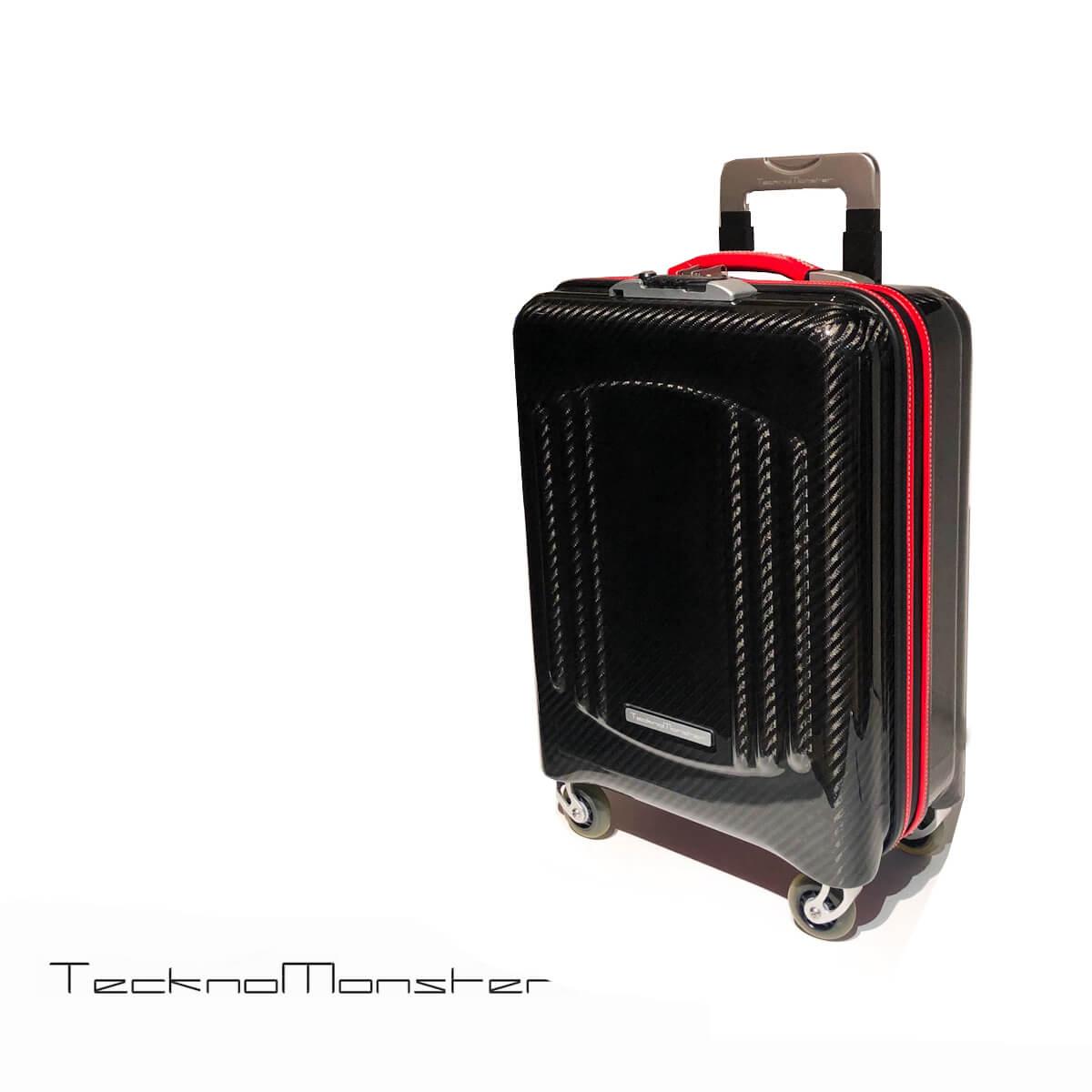 TecknoMonster (テクノモンスター)キャリーバッグ トローリー スーツケース 機内持ち込みサイズ カーボンファイバー カーフレザー おしゃれ