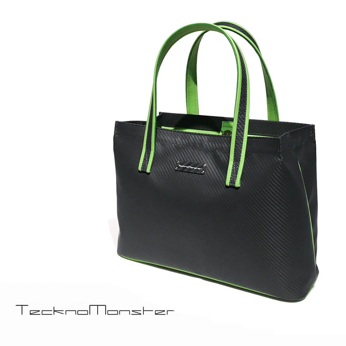 TecknoMonster (テクノモンスター)ミニトートバッグ ハンドバッグ カーボンファイバー カーフレザー ライトグリーン