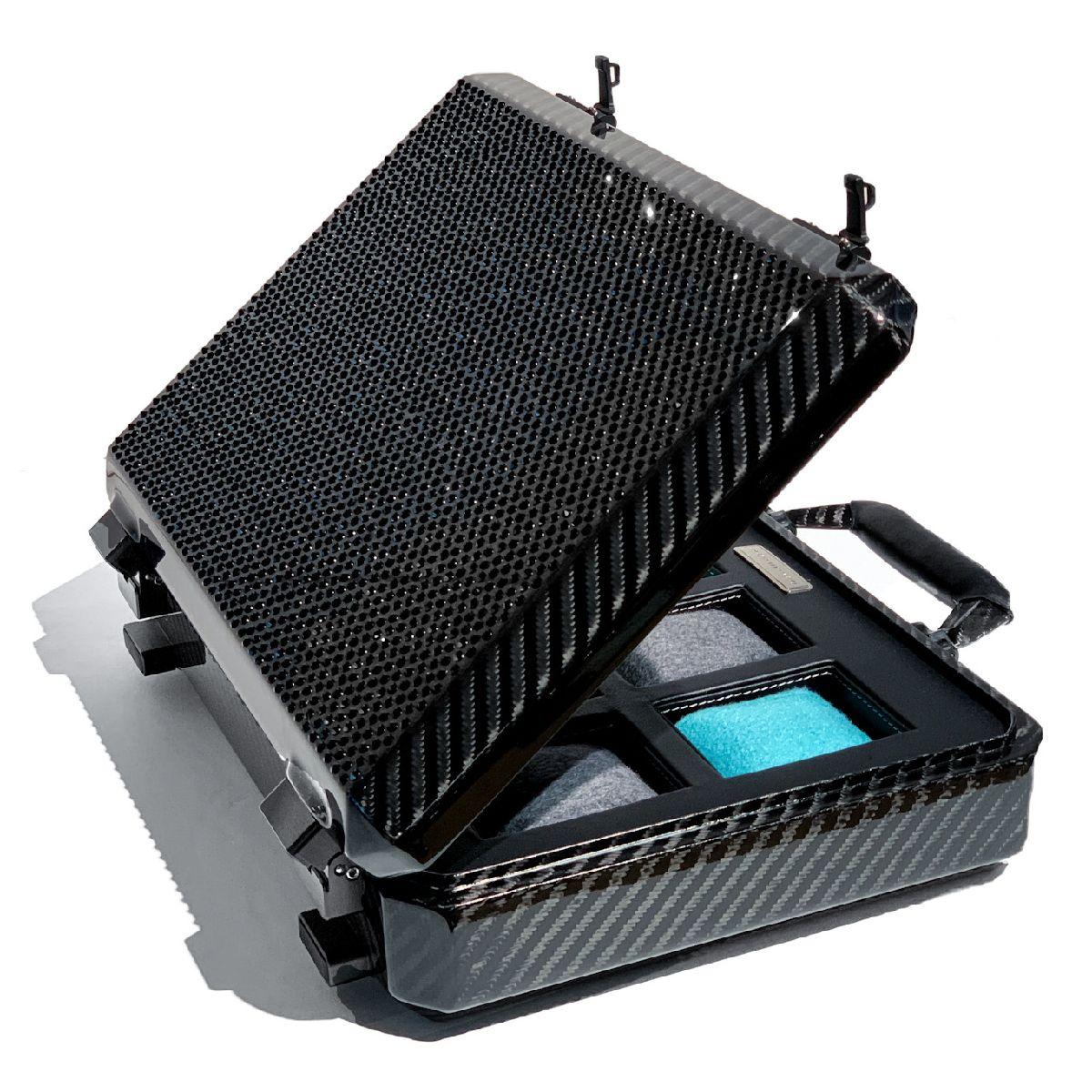 TecknoMonster (テクノモンスター)ウォッチケース 時計ケース コレクションケース アタッシュケース型 アタッシェケース型 ブランド メンズ レディース ソフトカーボンファイバー イタリア製 高級 ラグジュアリー