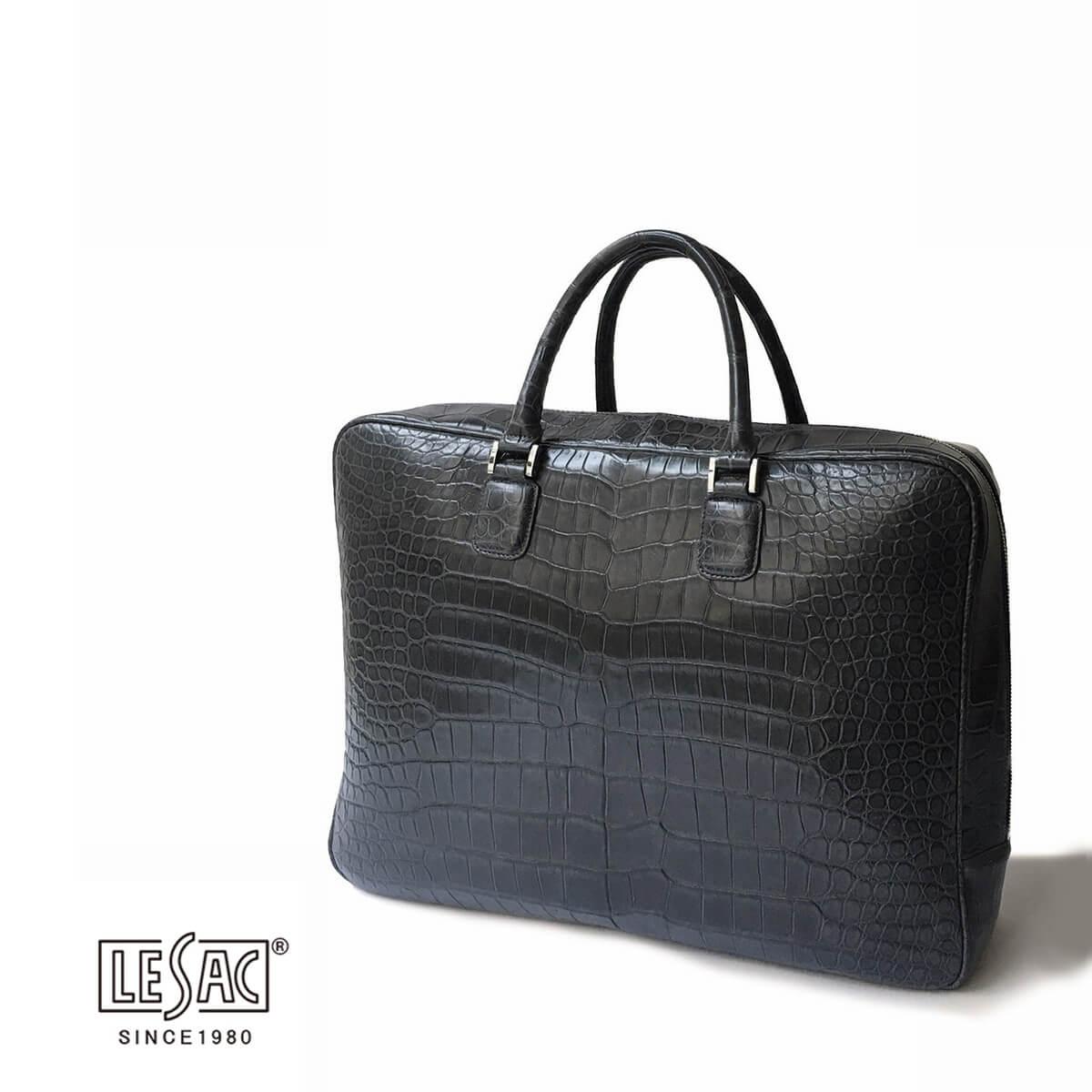 LeSac (レザック) レザック クロコダイルブリーフケース ポロサス メンズ レディース 大容量 チャコールグレー 本革 エキゾチックレザー ブランド カジュアル ビジネス ブランド