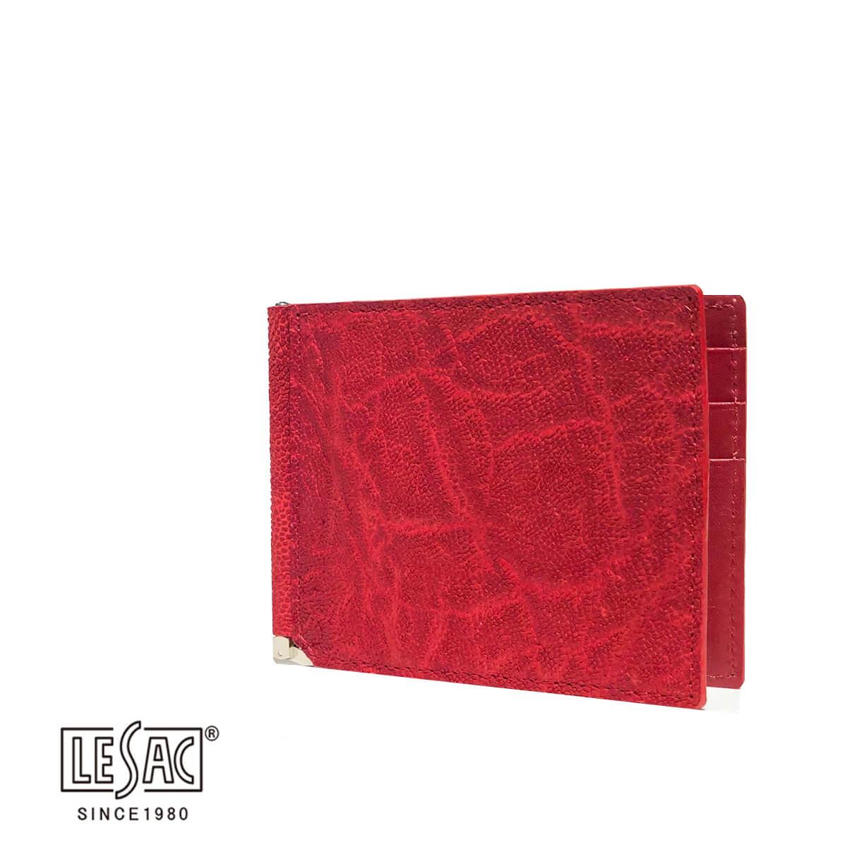 LE'SAC(レザック)レザック マネークリップ 札ばさみ カードケース 象革 エレファント 撥水加工 レッド ブランド