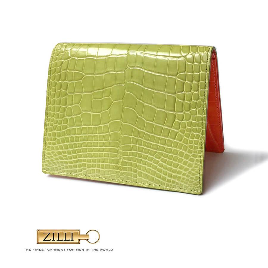 ZILLI (ジリー)カードケース パスポートケース メンズ レディース ブランド 高級 ZILLI ジリー アリゲーター 本革 ライトグリーン