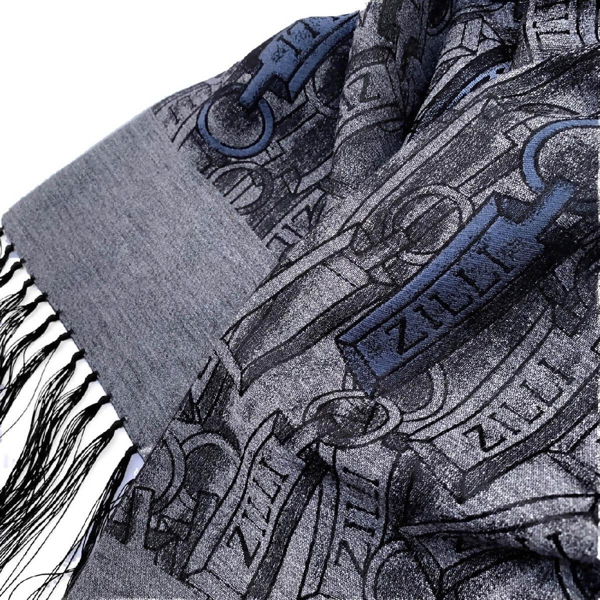 ZILLI (ジリー)マフラー メンズ レディース ブランド ZILLI ジリー シルク カシミア チャコールグレー 高級