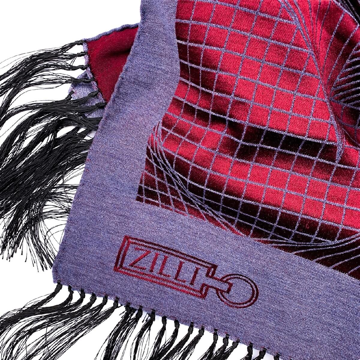 ZILLI (ジリー)マフラー メンズ レディース ブランド ZILLI ジリー シルク カシミア ブルー ボルドー 高級