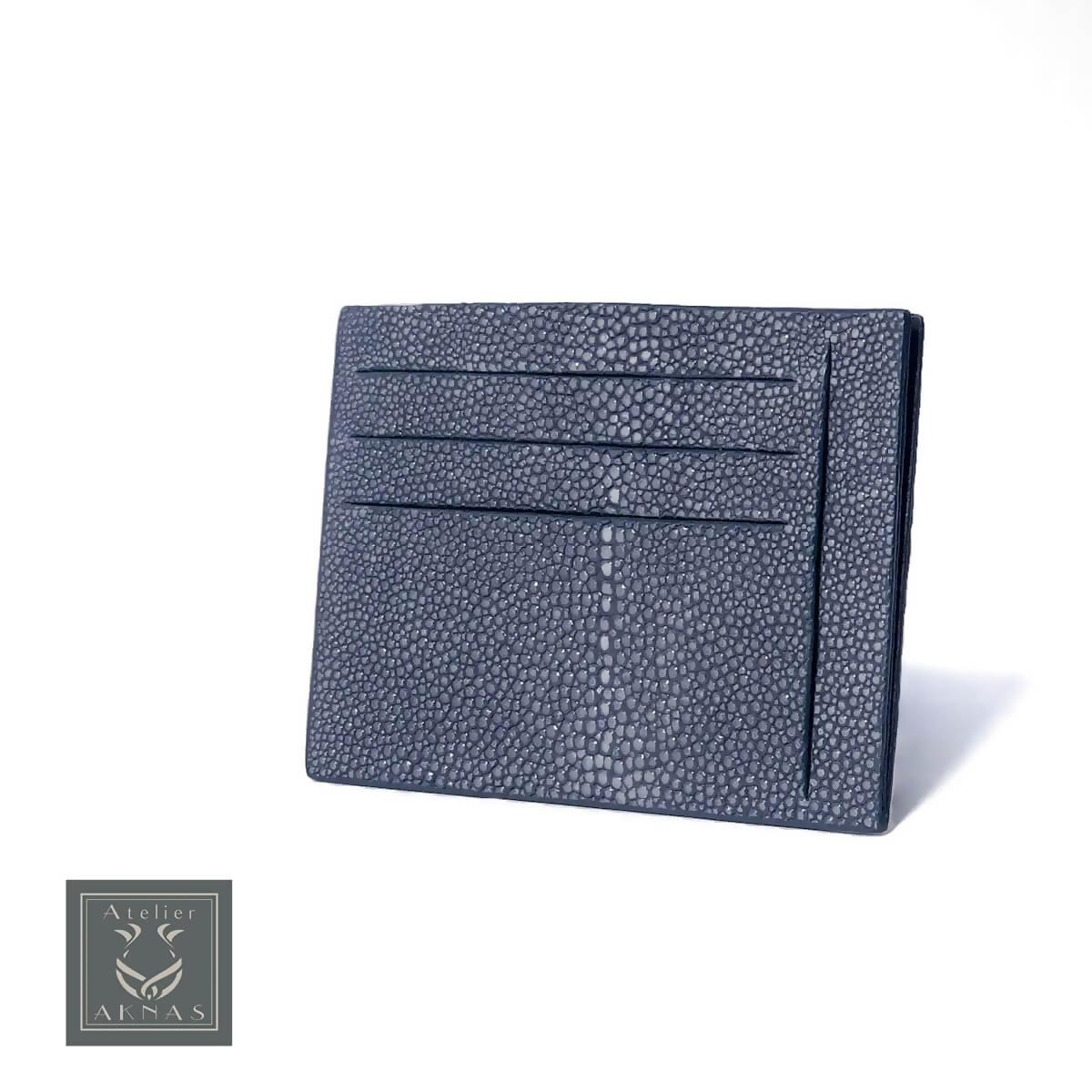 AKNAS (アクナス)カードケース ミニウォレット ミニ財布 ICケース 定期入れ エイ革 スティングレイ ガルーシャ エキゾチックレザー おしゃれ 高級 フランス タイ製