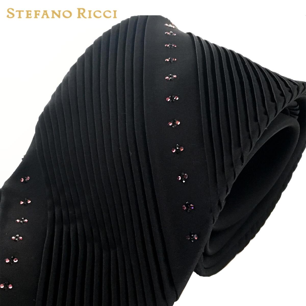 STEFANO RICCI(ステファノリッチ) ネクタイ スワロフスキー プリーツ ブラック プリーツタイ ステファノリッチネクタイ