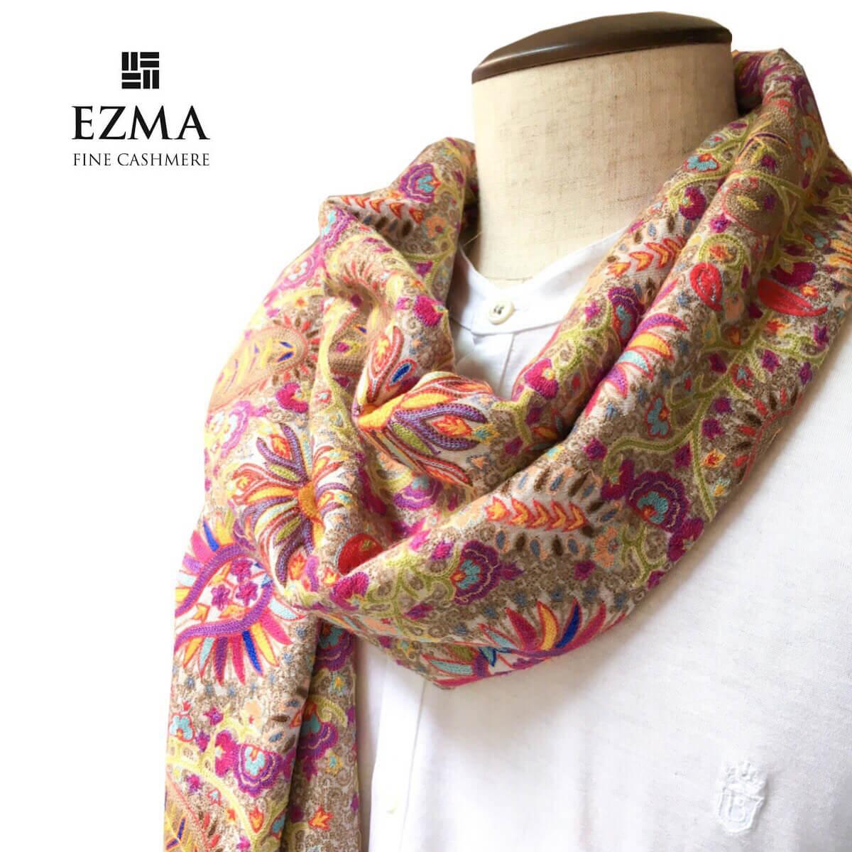 EZMA (エズマ)カシミヤ刺繍ストール 手刺繍 ストール マフラー おしゃれ 薄手 通年 メンズ レディース 男女兼用
