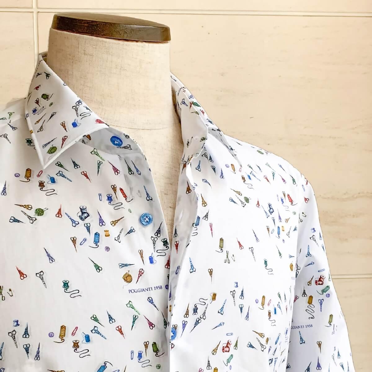 POGGIANTI1958(ポジャンティ)コットンシャツ カジャアルシャツ ブランド メンズ シャツ カジュアル イタリア おしゃれ 裁縫柄