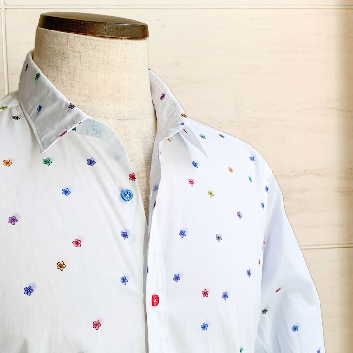 POGGIANTI1958(ポジャンティ)コットンシャツ カジャアルシャツ ブランド メンズ シャツ カジュアル イタリア おしゃれ 小花柄 花 フラワー