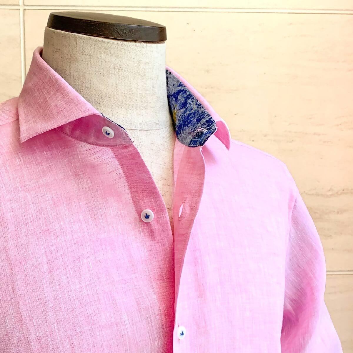 POGGIANTI1958(ポジャンティ)リネンシャツ カジャアルシャツ 麻シャツ ブランド メンズ シャツ カジュアル イタリア おしゃれ 無地 ピンク