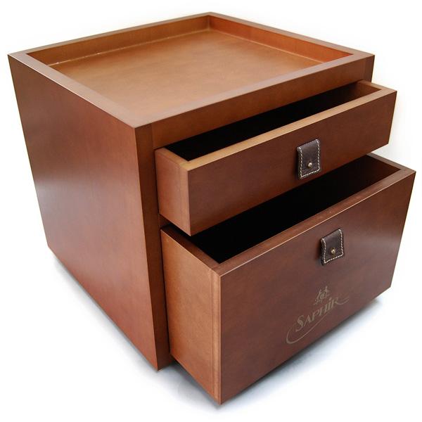 シューケア ボックス 【木箱のみの単品販売】サフィールノワール ドローワーボックス BOX シューケアボックス (シューケア用品 木箱 収納ボックス。靴磨きセットをご自身で)