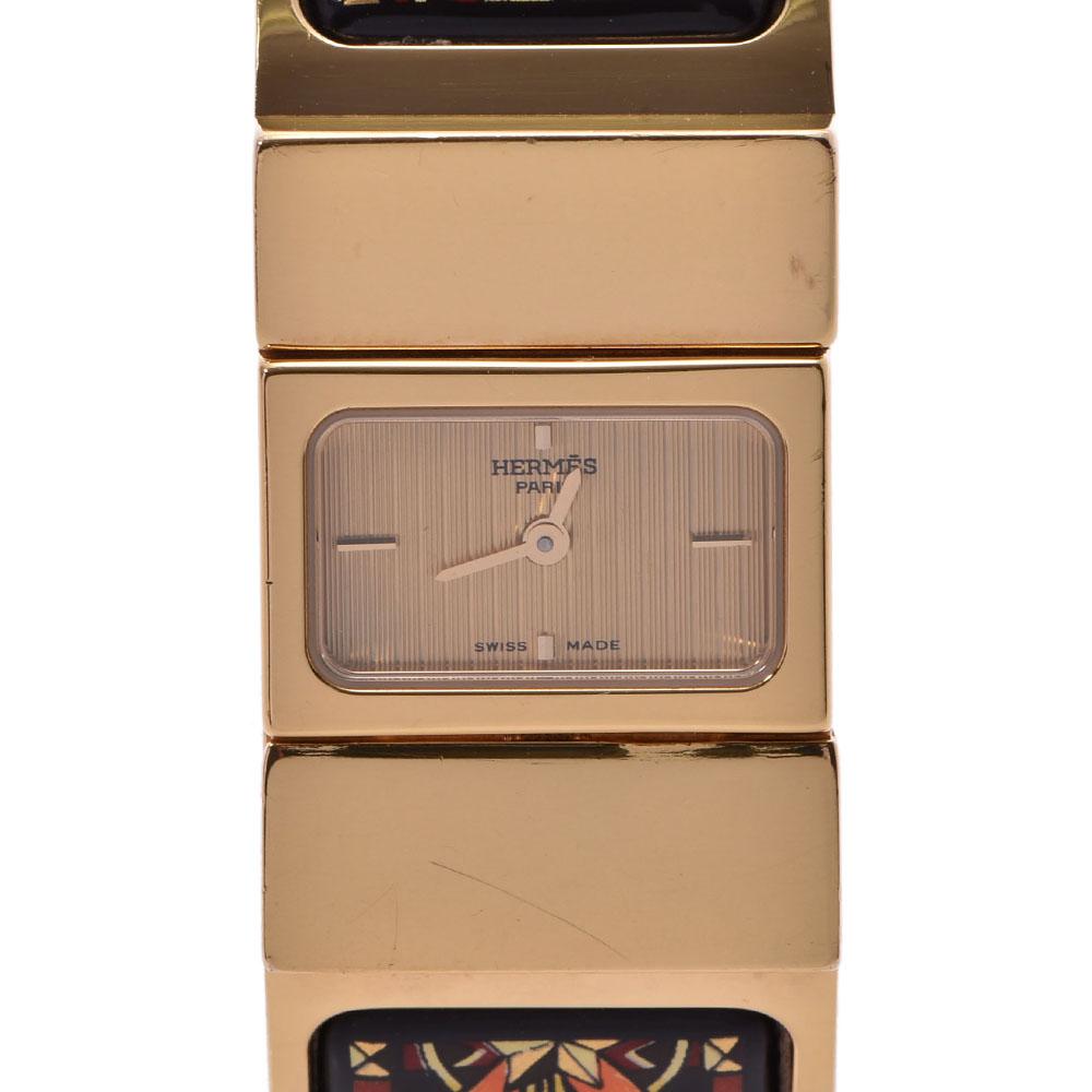 【エントリーでポイント5倍★4日まで】HERMES エルメス ロケ L01.201 レディース GP 腕時計 クオーツ シャンパン文字盤 Bランク 中古 銀蔵