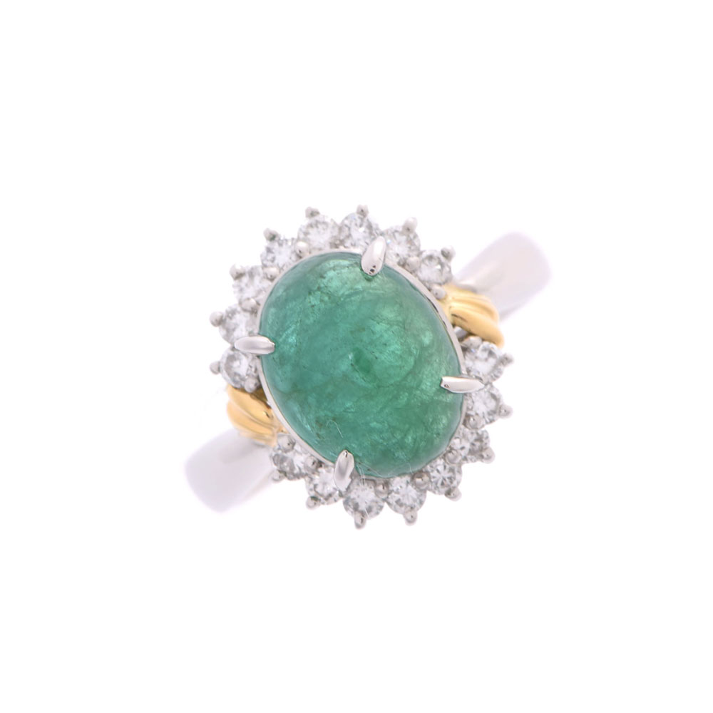 その他 11号 レディース エメラルド ダイヤモンド PT850 リング・指輪 Aランク 中古 銀蔵