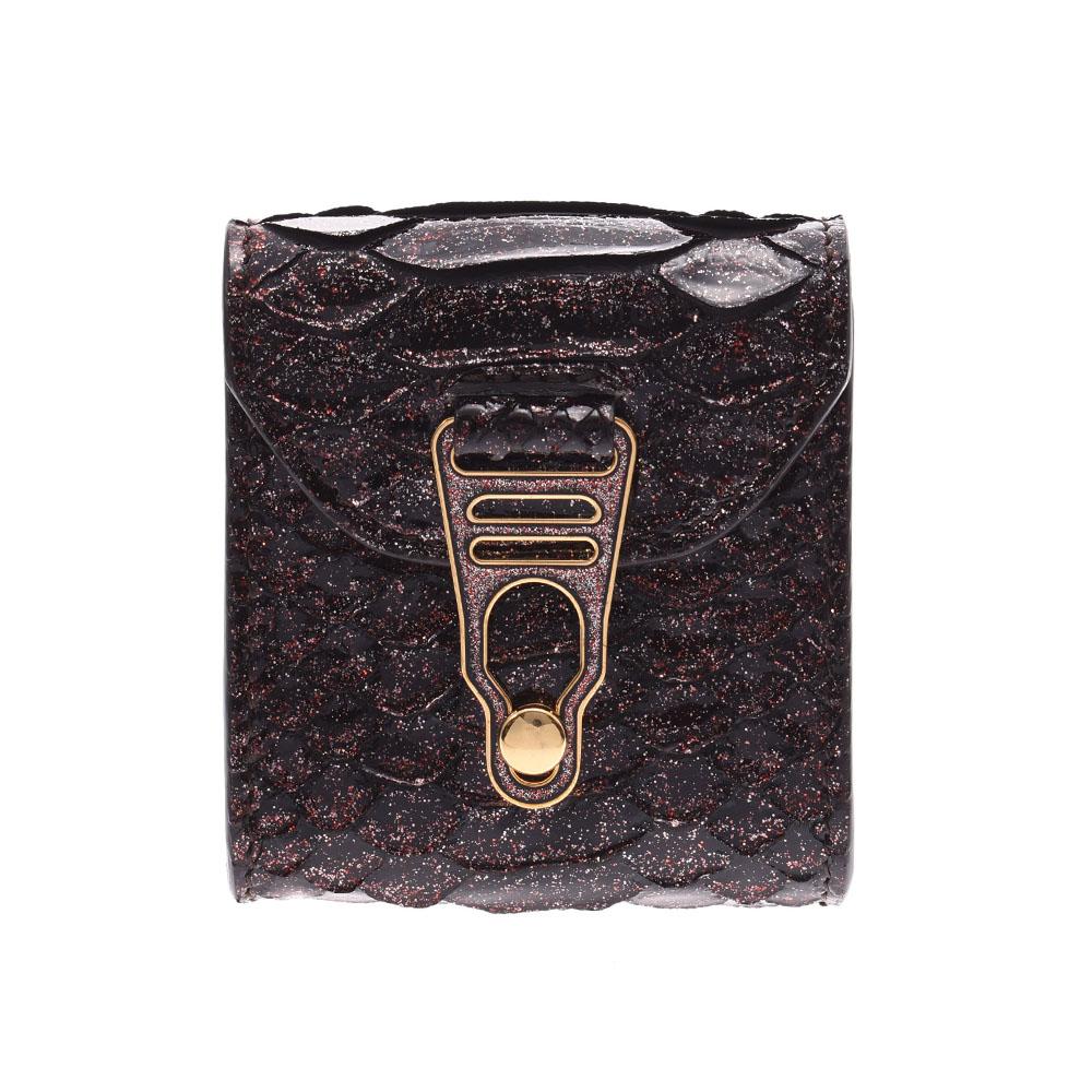 ラペルラ LA PERLA ミニポシェット ボルドー系 ゴールド金具 レディース ショルダーバッグ Aランク 中古 銀蔵
