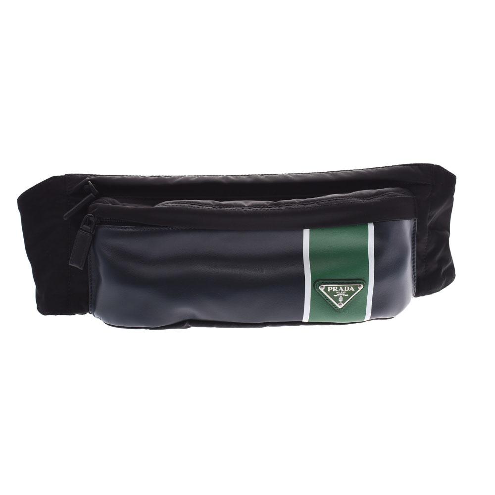 PRADA プラダ 黒/紺/緑 2VL132 ユニセックス ナイロン/レザー ボディバッグ 未使用 銀蔵