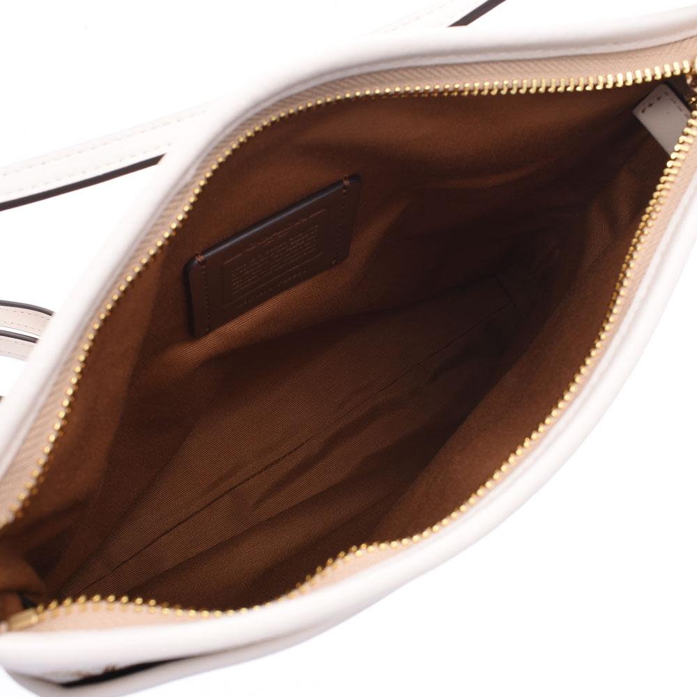 COACH コーチ シグネチャー フラット アウトレット アイボリー ベージュ F29960 レディース キャンバス レザー ショルダーバッグ 未使用 銀蔵XZnPk0wON8