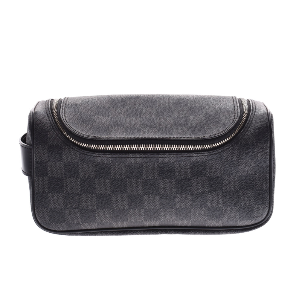 LOUIS VUITTON ルイヴィトン ダミエ グラフィット トワレポーチ 黒/グレー N47625 メンズ ダミエグラフィットキャンバス ポーチ Aランク 中古 銀蔵