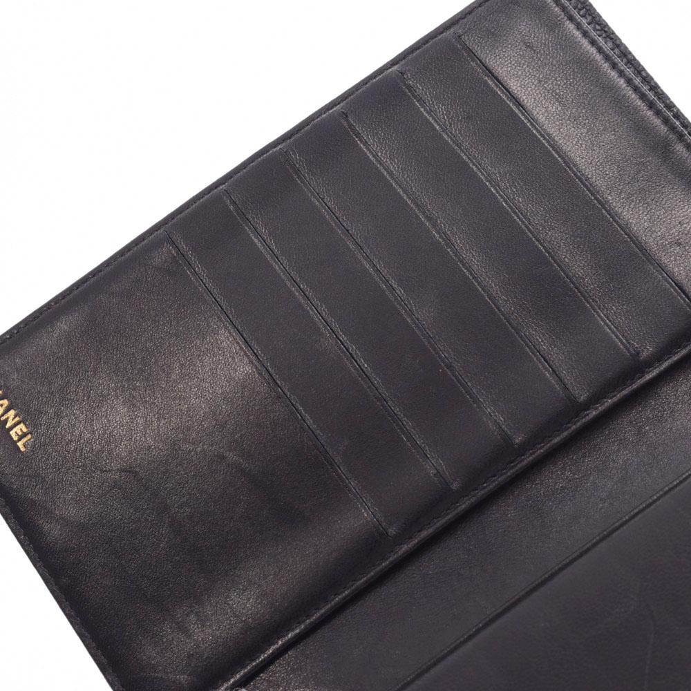 エントリーでポイント10倍 4日20時~ CHANEL シャネル がま口長財布 黒 レディース キャビアスキン 二つ折り財布 ABランク銀蔵0wOkXP8n