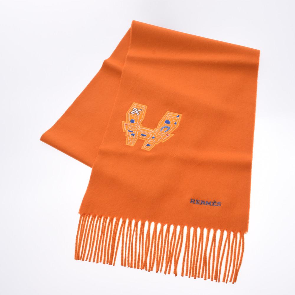 HERMES エルメス IMPRIME HERMES ODYSEE オレンジ ユニセックス カシミヤ100% マフラー 新品 銀蔵