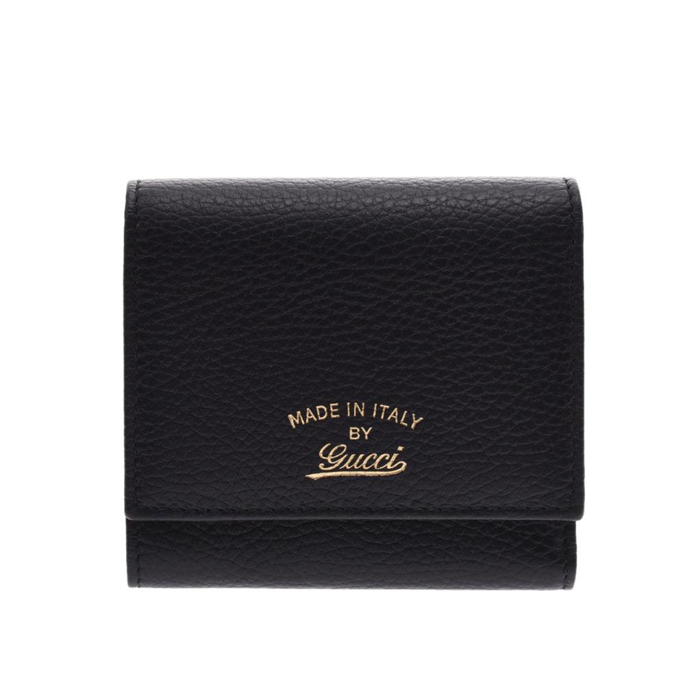 GUCCI グッチ 黒 368234 ユニセックス カーフ 三つ折り財布 未使用 銀蔵