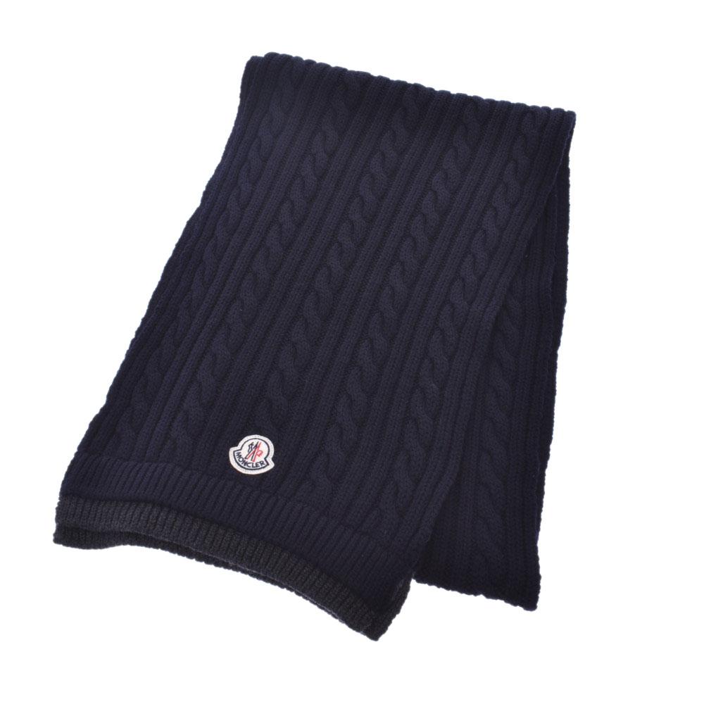 MONCLER モンクレール マフラー フラグメント 紺 ユニセックス 羊毛100% マフラー 未使用 銀蔵
