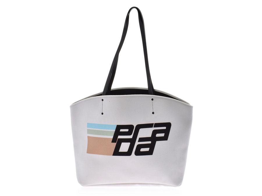 PRADA プラダ ロゴプリント 白/黒 1BG220 ユニセックス キャンバス レザー トートバッグ 新同 中古 銀蔵