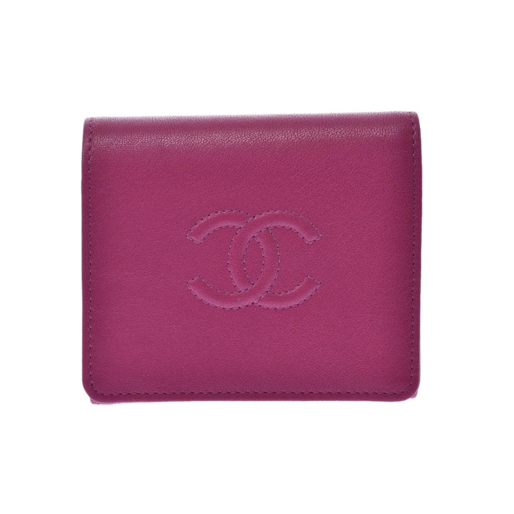 CHANEL シャネル コンパクト財布 ピンク レディース カーフ 三つ折り財布 Aランク 中古 銀蔵