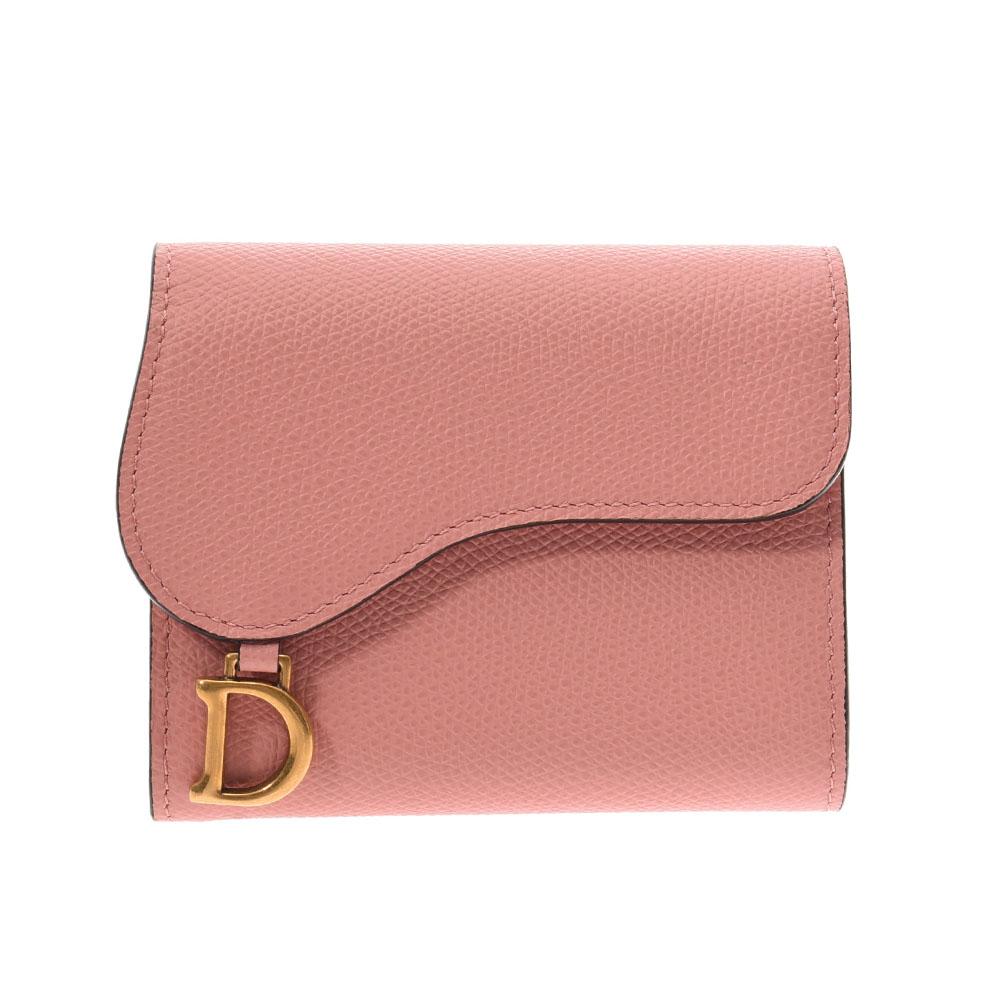 Christian Dior クリスチャンディオール サドルウォレット ピンク レディース レザー 三つ折り財布 未使用 銀蔵