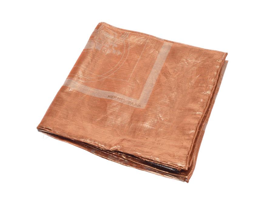 HERMES エルメス エクスリブリス 馬車柄 オレンジ ユニセックス シルク30% ポリエステル70% スカーフ ABランク 中古 銀蔵