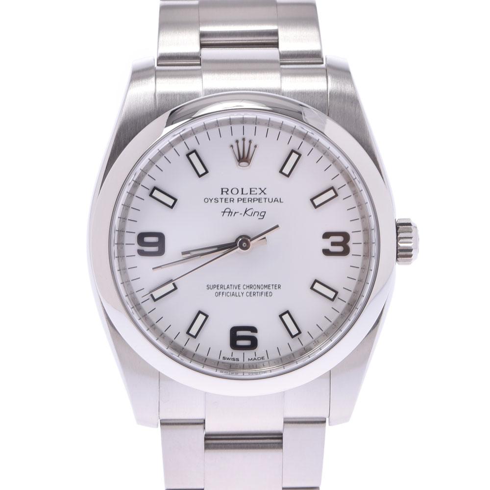 【エントリーでポイント5倍★4日まで】ROLEX ロレックス エアキング 114200 ボーイズ SS 腕時計 自動巻き 白文字盤 Aランク 中古 銀蔵