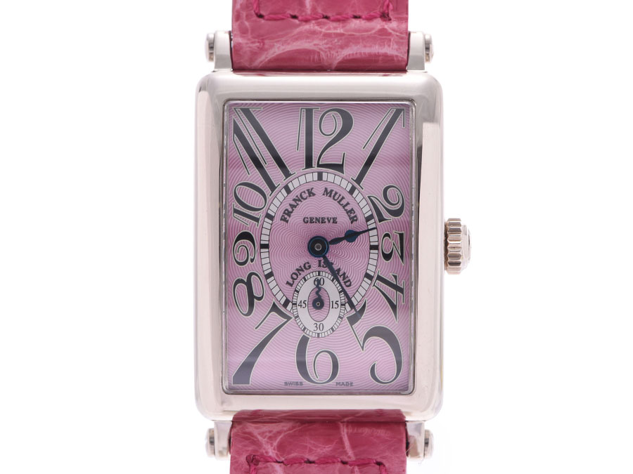 【エントリーでポイント5倍★4日まで】FRANCK MULLER フランクミュラー ロングアイランド 900S6 ボーイズ WG/革 腕時計 手巻き ピンク文字盤 Aランク 中古 銀蔵