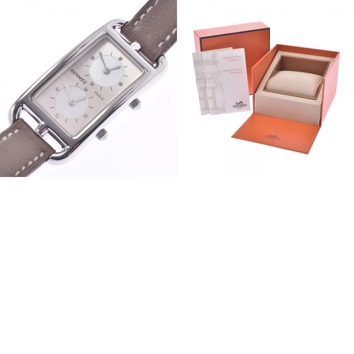 HERMES エルメス ケープコッド ドゥゾーン CC3 210 レディース SS 革 腕時計 クオーツ シルバー文字盤 Aランク銀蔵nOkw08P