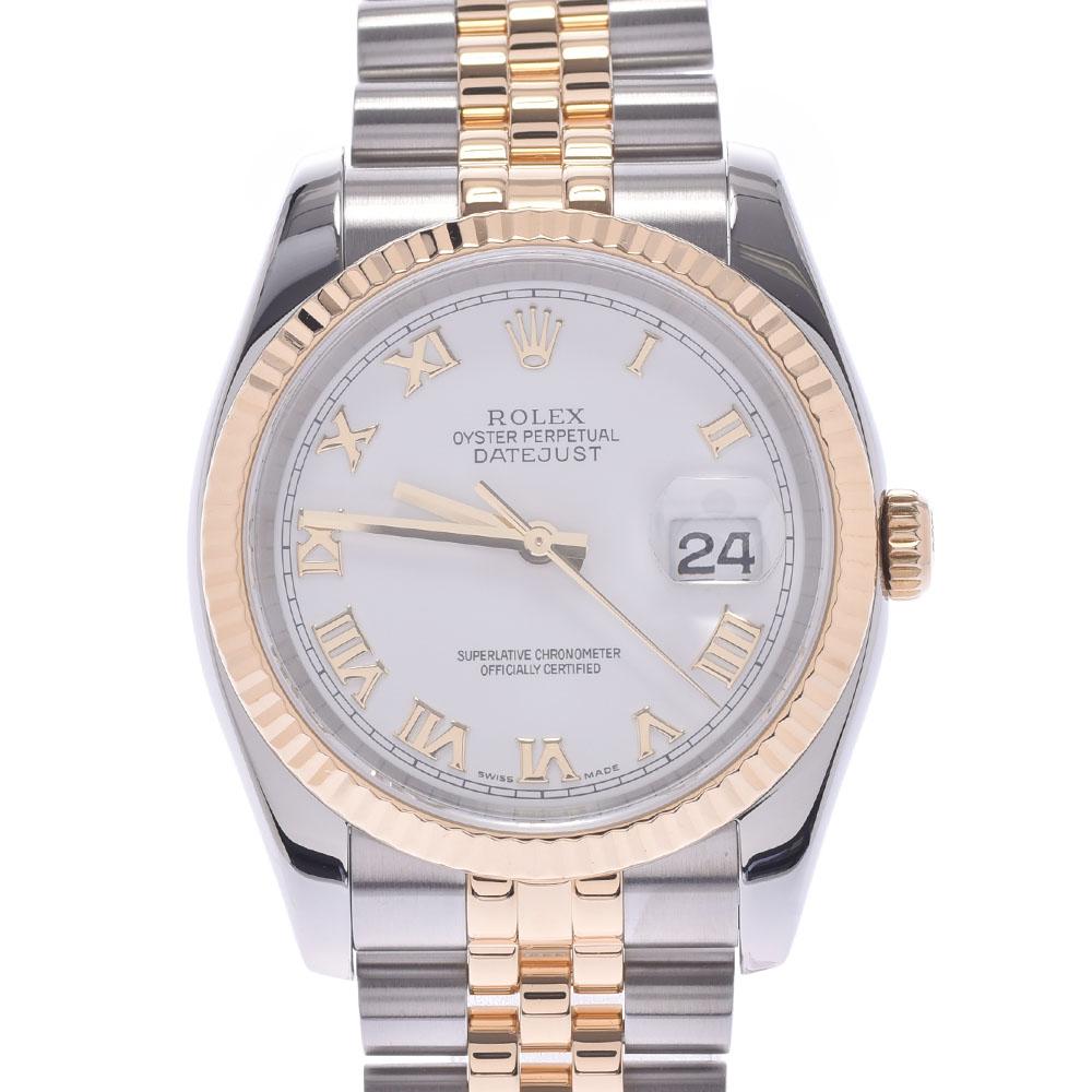 ROLEX ロレックス デイトジャスト 116233 メンズ YG/SS 腕時計 自動巻き ホワイトローマン文字盤 Aランク 中古 銀蔵