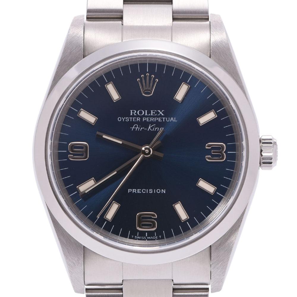 ROLEX ロレックス エアキング 14000 メンズ SS 腕時計 自動巻き ブルー文字盤 Aランク 中古 銀蔵