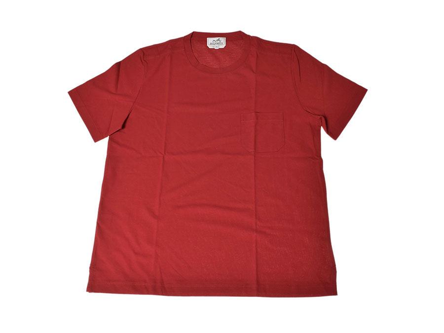 中古 エルメス クルーネック ポケットTシャツ コットン100% 赤 サイズXL 未使用 HERMES◇