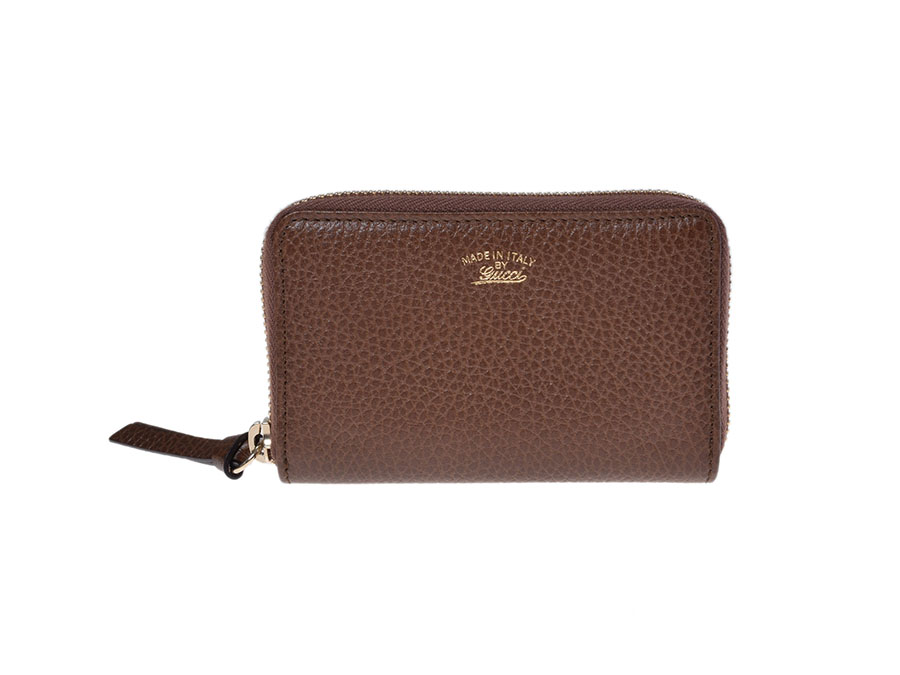 competitive price 8d5a7 9e2d5 New the Gucci by GUCCI zip card case Brown leather-
