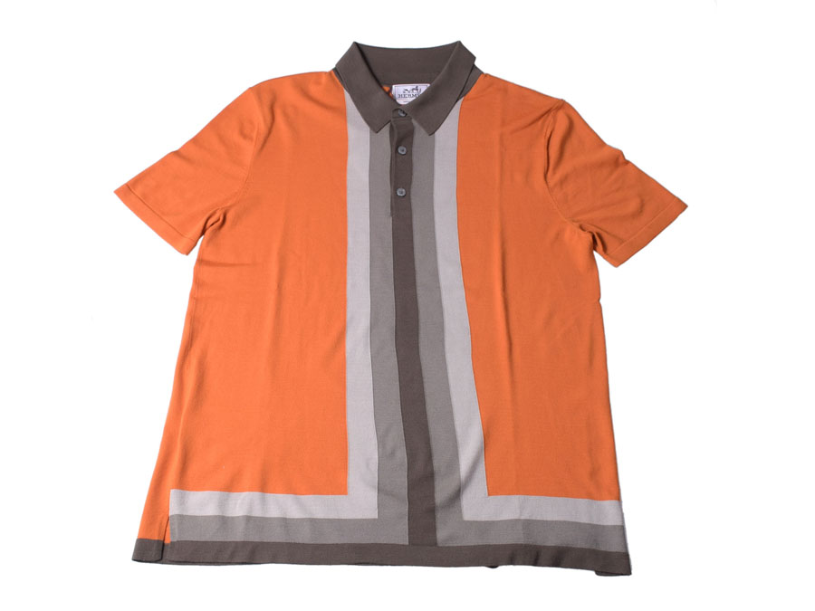 特別価格 新品エルメス・HERMES 襟付き半袖ニット ウール100% オレンジ×グレー サイズXL◇, radishop c593cb5a