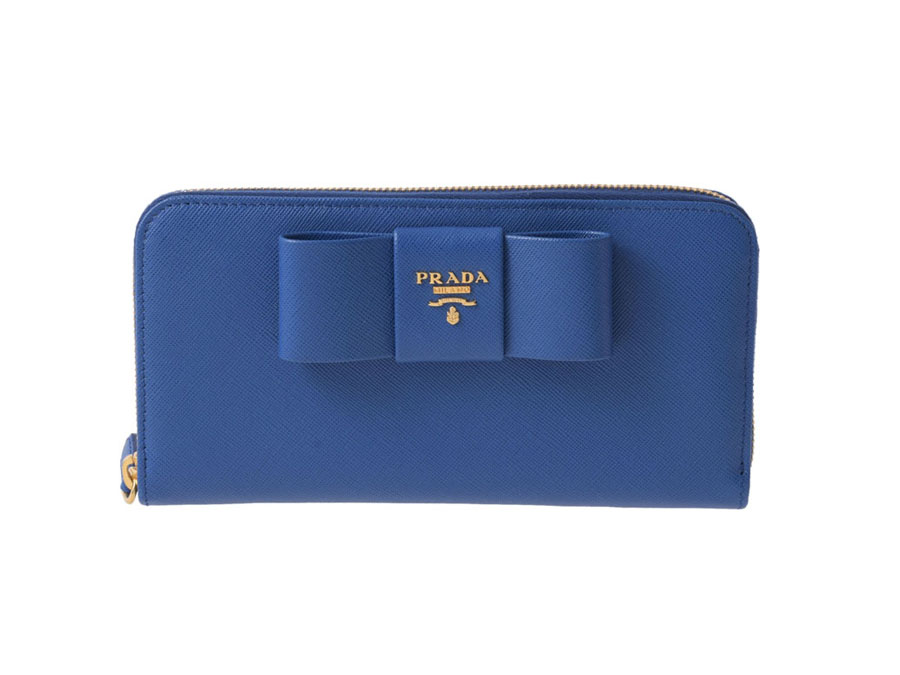 acca1a3d524834 Unused Prada-PRADA large zip around wallet Ribbon blue with saffiano leather -