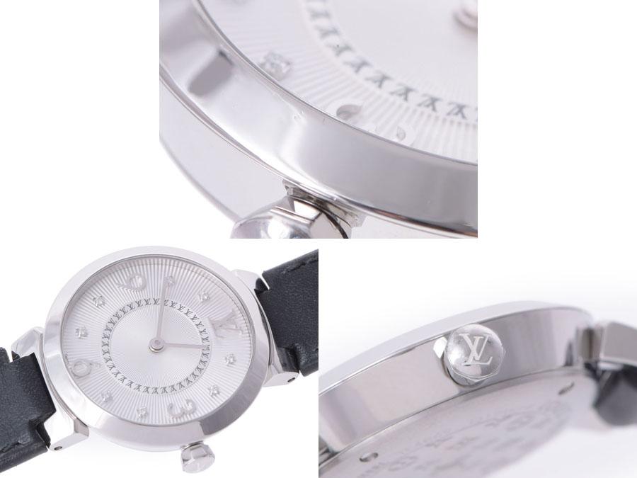路易 · 威登 Tambor Q12MG SS / 皮革 8 P 钻石石英手表-